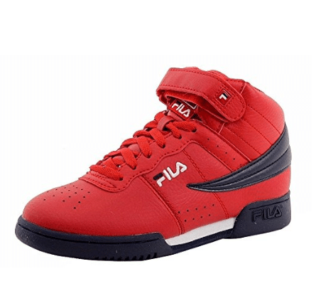 Fila Boy's F-13 Red Navy White Mid-Top Basketball Sneakers Shoes