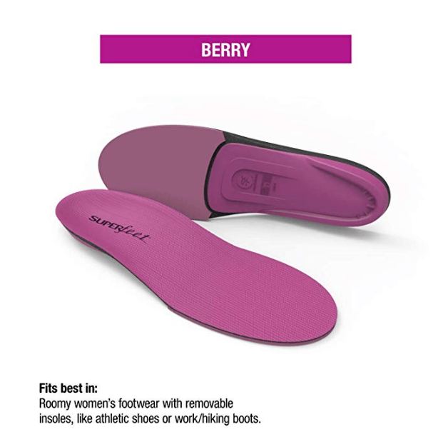 Superfeet BERRY, Womens Comfort High Impact Sport Running and Walking Shoe Orthotic Insole